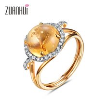 silver 925 jewelry Zuanhui Fashion dazzling Crack decoration Flower Natural Citrine Oval cut Lucky Design
