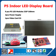 factory wholesale diy kits p5 smd indoor full color led display sign 9pcs p5 led matrix display module+1 led control card+1power(China)