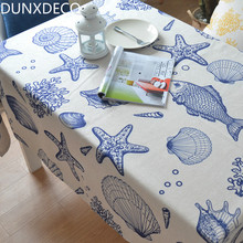 DUNXDECO Modern Sea World Blue Heavy Linen Cotton Bar Coffe Store Table Cloth Party Print Fabric Kitchen Table Cover Home Decor