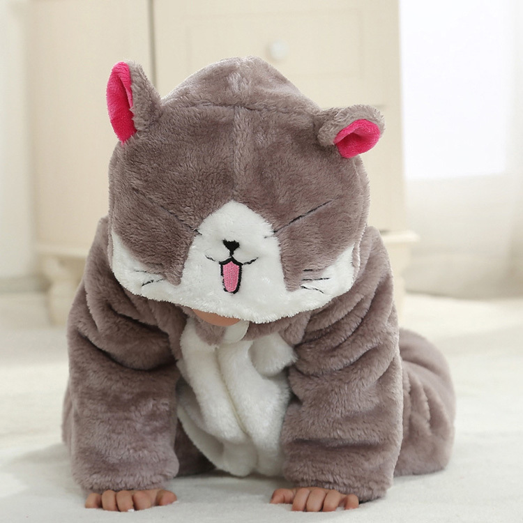 Warm thermal flannel animal shape baby winter clothing for rompers one-piece suit<br>
