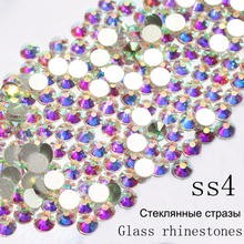 SS4 1440pcs/pack Crystal AB Non Hotfix Nail Art Rhinestones With Round Flatback For Nail Art Dancing Dress And Phone Case(China)