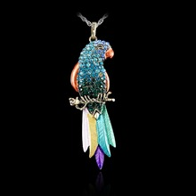 Long Jewelry Sweater Necklace 2017 New Bird pendant Exquisite Colourful Parrot Pendants Necklaces Fashion Necklaces For Woman