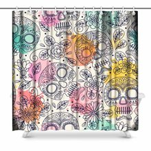 Aplysia Skull And Flowers Country House Image Mexican Day Of The Dead  Fabric Bathroom Decor Shower