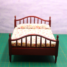 1:12 Dollhouse Miniature Bedroom Furniture Wooden Bed Doll House Acessories Toys for Children