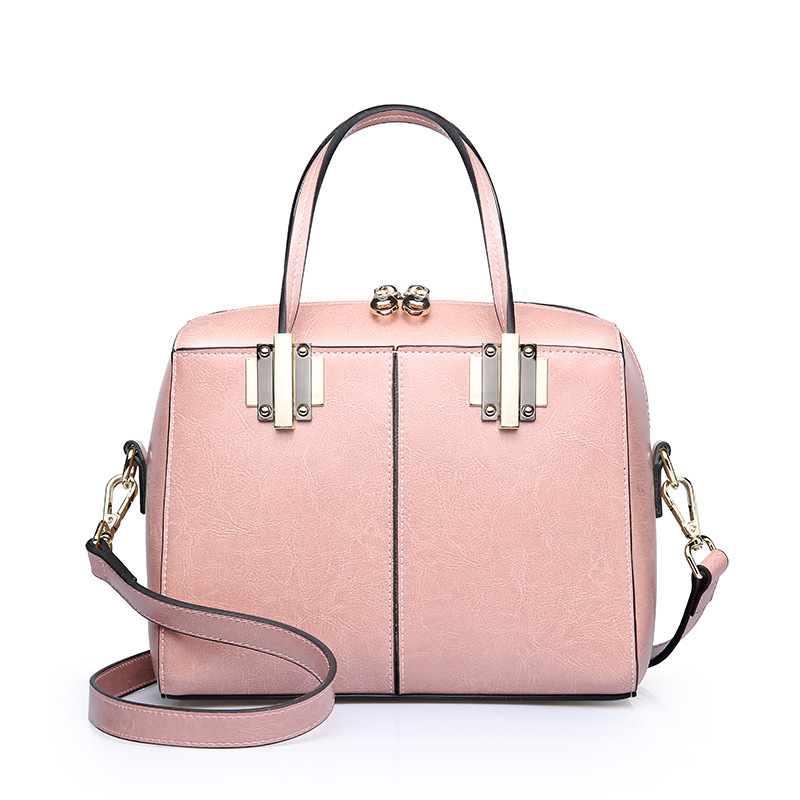 MORESHINE New Split leather womens Elegant bag Lady Metal handle design shoulder bag Female Oil wax leather Crossbody bags tote<br>