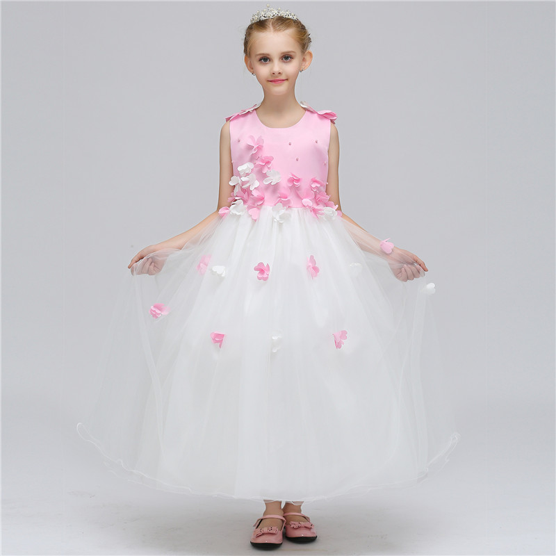 New Formal Cute Girls Princess Flower Long Dress Sleeveless Child Birthday Party Tulle Floral Performance Dresses Cloth 12 Years<br>