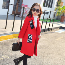 2017 Winter Girls Kids Wool Thick Jacket Coat Outer Clothing Comfortable Baby Clothes Children Letter Print Red And Grey Color(China)