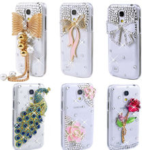 3D Bling Crystal Diamond Rose Daisy Peacock Ribbon Bow Eiffel Rhinestone Clear Cell Phone Case Cover for Samsung Galaxy S4 Case