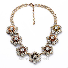 Fashion Unique Wedding & Engagement Jewelry Supplier Elegant Crystal Flower Necklaces Gold Color Necklace