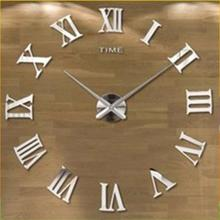 2017 Brand New Simple Design DIY Stylish Self-stick Large Wall Clock 3D Mirror Wall Clock Sticker
