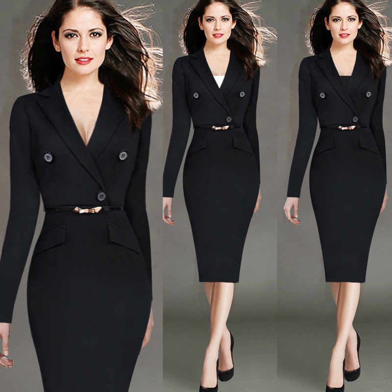 840beb9f3453d 4XL Fashion Women Retro Vintage Working Dress Elegant Lady Black Long  Sleeve Pencil Dress Office Wear