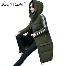 JOLINTSAI Long Hooded Women's Winter Jackets 2018 New Fashion Long Sleeve Cotton Parkas Warm Winter Coats Women Large Size()