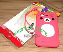3D Cartoon Bear Case for HTC Incredible S S710D S710E G11 With hang rope soft silicone back cover for HTC S710D shell funda capa(China)
