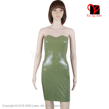 Buy Sexy Tube Latex Dress Rubber shirt Bandeau Bodycon Green Gummi Strapless Pencil Miniskirt Uniform playsuit body plus size QZ-017