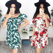 Buy 2017 Summer Women Sexy Fashion Dresses Casual Print Shoulder Ruffles Mini Butterfly Sleeve Slash Neck Dress Vestidos for $6.57 in AliExpress store