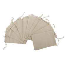 10PCS Linen Jute Drawstring Gift Bags Sacks Party Favors 8 * 10cm  Packaging Bag Wedding Candy Gift Bags party Supplies
