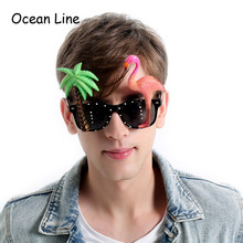 Funny Decorative Flamingo Beach Party Miami Style Costumes Sunglasses Glitter Beach Glasses Event Party Supplies Decoration(China)