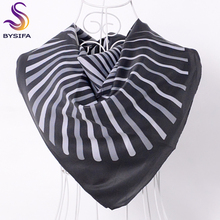 [BYSIFA] White Striped Black Silk Head Scarf Shawl Women Men Satin Twill Large Square Scarves Wraps For Spring Autumn 90*90cm