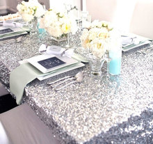 High-end Wedding!! 50''*80'' Silver Sequin Tablecloth,Table Linens, Sparkly Champagne Bling Wedding Linens Tablecloth(China)