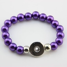 6 Pcs Multicolor Bead Bracelet Snap Bracelet Silver Fake Peral Bracelet Elastic Snap Button Bracelets For Women