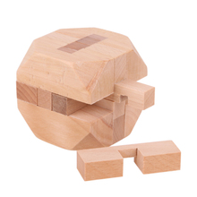 Tetrakaidecahedron Ball Wooden Toys Kong Ming Luban Lock Wooden Intellectual Brain Tease 3D Puzzle Toy for Kids Adult(China)