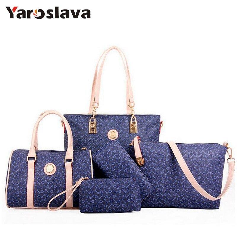 6 Sets Women Leather Handbags Messenger Composite Bags women brand designer 2018 luxury Famous Brands Fashion Bag  LL400<br>