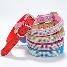 Puppy Cat Pet Rhinestone Crystal Dog Leather Collar Buckle Bling Small Dog Collar Red Pink Rose Gold Blue 5 Colors for Choose(China)