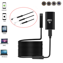 HD USB Endoscope Hard Cable Android IOS PC 8 LEDS 720P 8mm Lens 2.0M Wifi Wireless Car Endoscope Flexible Camera Waterproof(China)