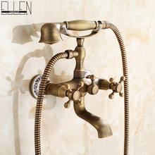 Wall Mounted Bath Shower Faucet With Hand Shower Telephone Bath Faucet Antique Bronze Bathtub Crane Bathroom Shower Faucet Set