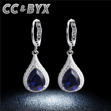 Blue water drop dangle earrings for women party engagement wedding jewelry 925 sterling silver gifts female accessory CCE020