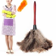 1 pcs Ostrich Natural Feather Duster Brush With Wood Handle Anti-static Cleaning Tool Household Furniturer Car Dust Cleaner