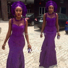 Nigerian Style 2017 African Formal Dresses Evening Gowns Purple Sheer Neck Aso Ebi Lace Mermaid Prom Dresses