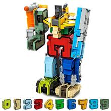 Digital DIY Building Blocks Assembly Deformation Robot Building Blocks Math Letters Toy Montessori Educational Toys for Children(China)