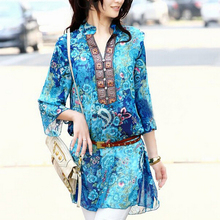 FS Hot plus size chiffon women blouses bohemian indian tops summer embroidery long shirt blouse dress ladies blouses shirts