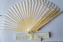 50 pcs/lot Customize Personalized Bride & Groom's name & date Silk Folding Hand Fan Laser Cut Gift Box Wedding Baby Shower Gifts