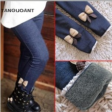 New 2017 girls bow jeans cotton children cashmere pants kids warm elastic waist legging wholesale and retail