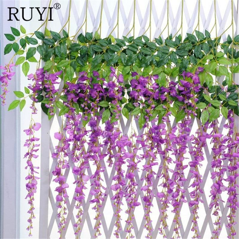 artificial flower wisteria vine artificial plants silk flowers decorative rattan housegardenhotel wedding