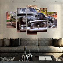 Famous Classic Old Style Car Canvas Oil Painting 5 Panel Arts Sets Unframed Home Wall Decor For Living Room