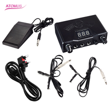 Tattoo Black Stable Tattoo Power Supply Digital LCD  Machine Foot Pedal Switch Clip Cords With British Standard Power Cord Plug