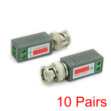 10x Video Passive UTP Balun Cat5 BNC Male Connector Twisted CCTV Transmitter