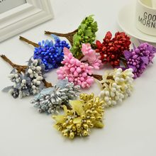 10pcs diy scrapbooking decoration cheap artificial flower garland bouquet sprout stamen bacca berry flower for wedding(China)