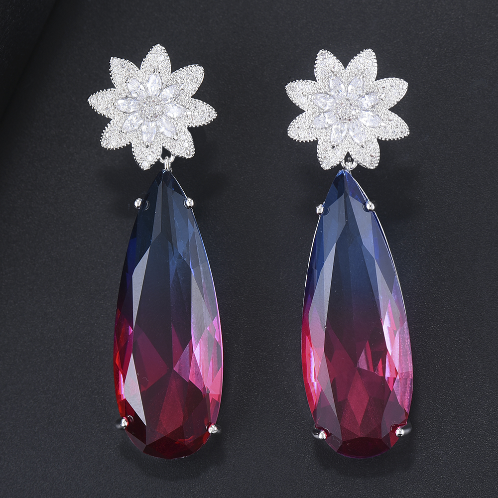 19*57mm Luxury Women Stratement Flower Pierced Drop Wedding Dangle Earrings Cubic Zirconia Inlaid Jewelry mujer moda 2018