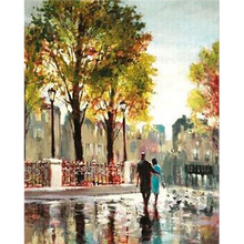 Made Hand New hot Sale Diamond Painting Walking In The Rain Full Resin Square Diamond Embroidery Office Living Room Decorations
