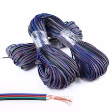 2m 5m 10M 20m 50m 4 Pin Extension RGB+Black Wire Connector Cable For DC5V Ws2801 Ws2812b DC12V 3528 5050 RGB LED Strip light