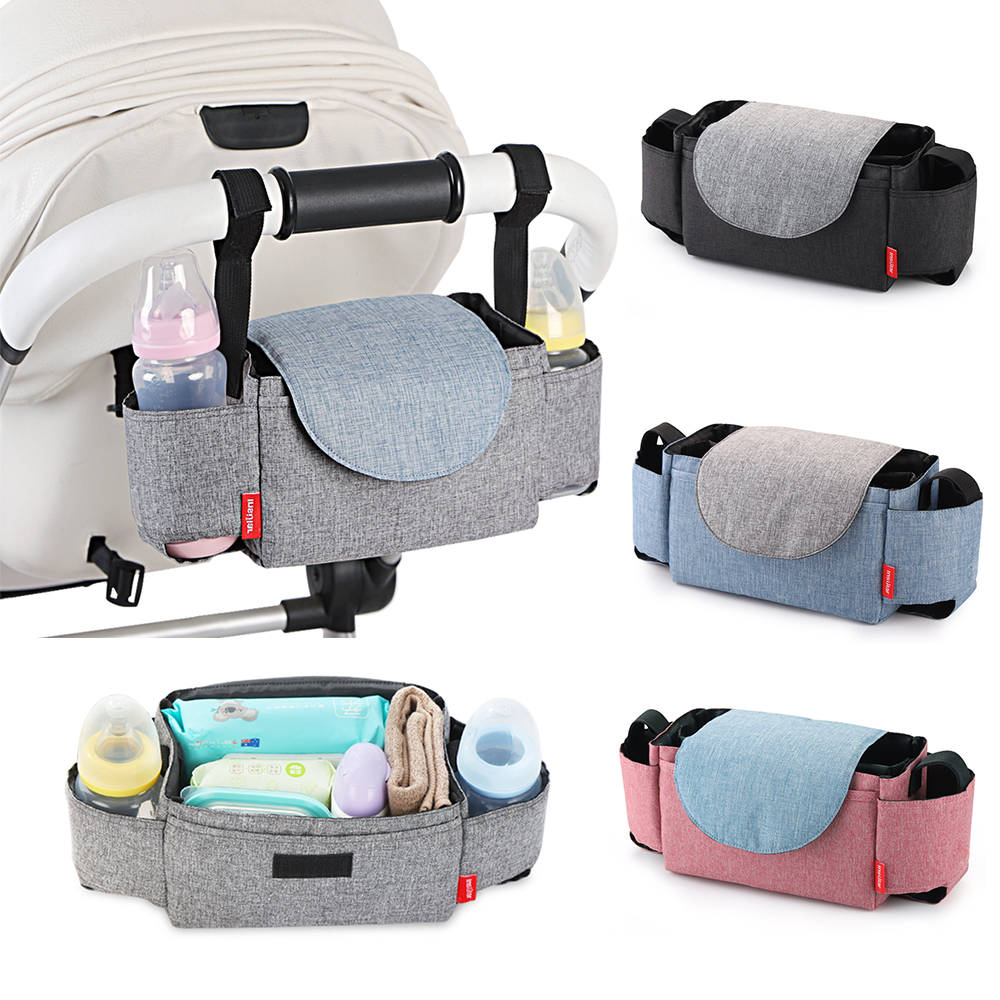 Universal Baby Stroller Pram Pushchair Large Capacity Cup Bottle Cloth Diapers Holder Organizer Hanging Storage Bag Pouch Stripe