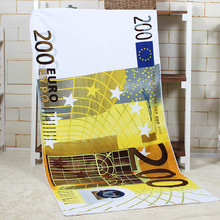 70*140CM Europe 200 Euro print sand beach towel Shower dry blanket bathing washcloth Microfiber summer sunshine protection