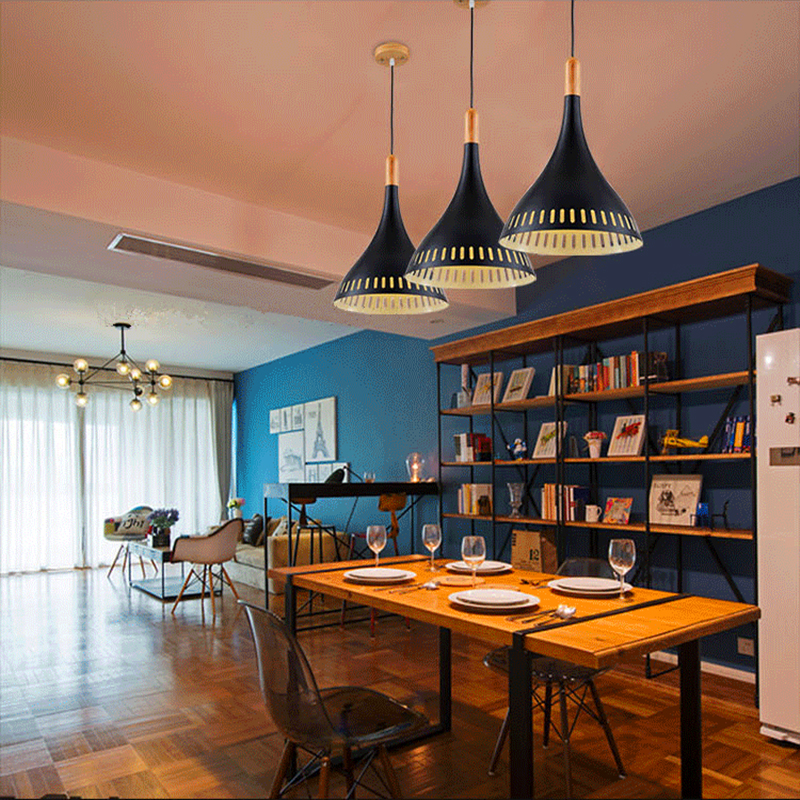 Hot-selling Home Decoration Pendant Light Brief Wooden+Aluminum Single Pendant Light  Black/White Dia.20cm Suspension Lighting<br>