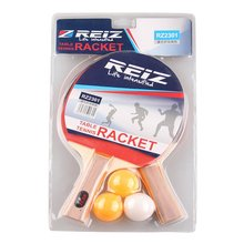 REIZ Table Tennis Racket Set Short Or Long Handle Shake-hand Ping Pong Paddle With 3pcs Balls Match Training Racket