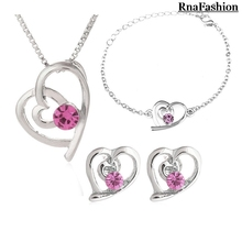 Free shipping Wholesale austria Crystal jewelry import zircon Heart pendant necklace earrings bracelet fashion 3 jewelry sets(China)