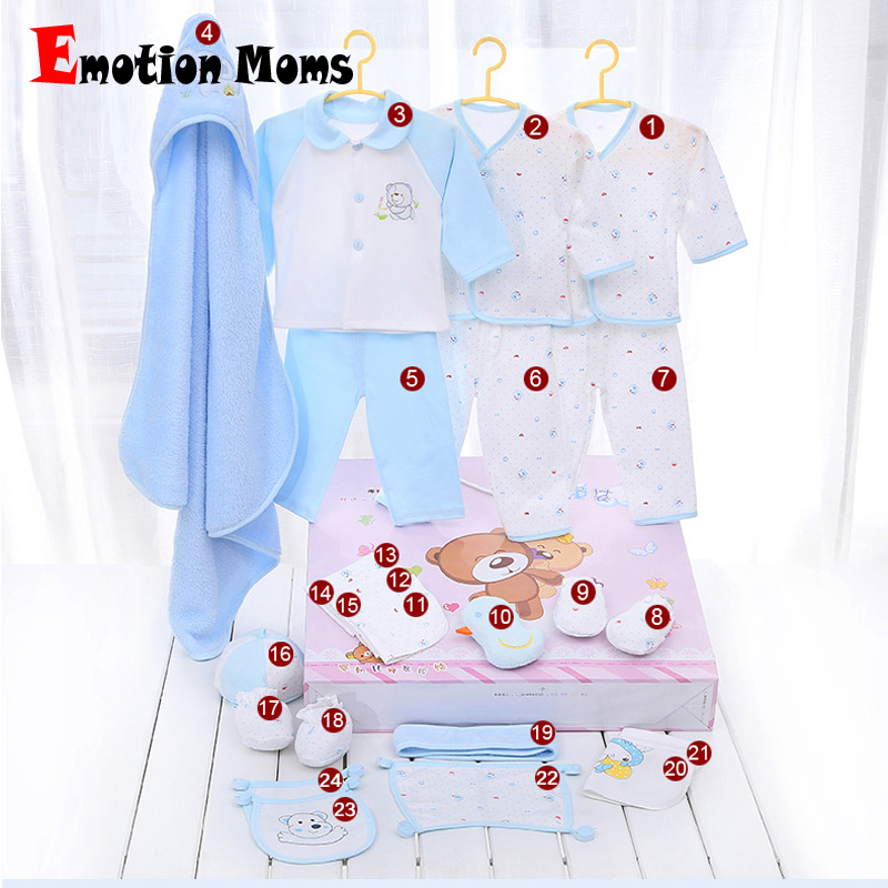 Emotion Moms newborn baby girls clothes cotton 24pieces 0-6months infants baby girl boys clothing set baby gift set without box<br>